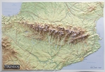 Mapa en relieve de los Pirineos